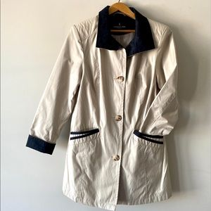London fog tan rain trench with black accents